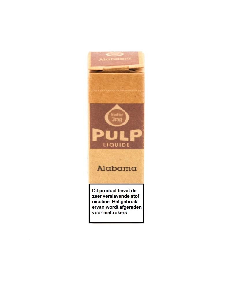 PULP Alabama is een donkere Brightleaf tabak e-liquid met PG/VG verhouding 70%/30%. Deze e-liquid wordt geproduceerd in Frankrijk en verkocht in 10ml flesjes.
