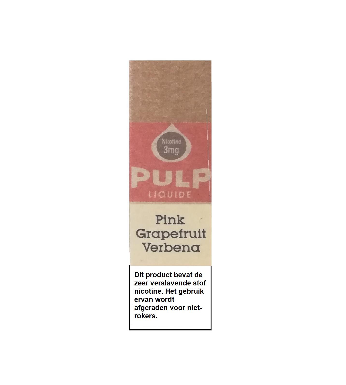 PULP Pink Grapefruit Verbena smaakt naar roze grapefruit en verbena. Deze Franse e-liquid met een 70PG en 30VG verhouding.