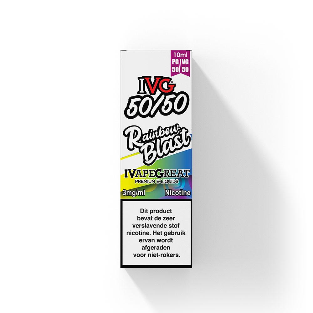 IVG Rainbow Blast smaakt naar fruitsnoepjes met menthol. Deze e-liquid uit het Verenigd Koninkrijk heeft een 50%PG/50%VG verhouding. U kunt deze smaak bestellen in 10ml flesjes en verschillende sterktes nicotine maar ook zonder nicotine.