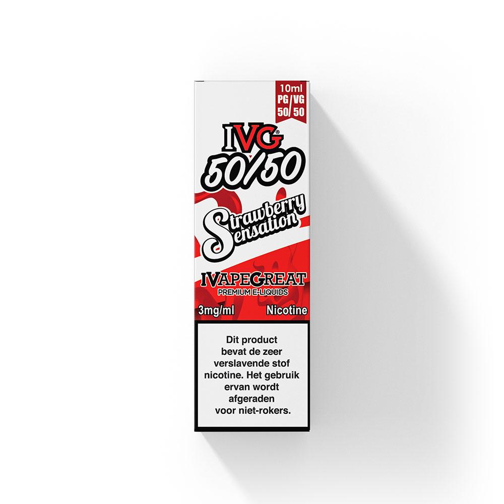 IVG Strawberry Sensation smaakt naar aardbeien snoepjes met een lichte toevoeging van menthol. Deze e-liquid uit het Verenigd Koninkrijk heeft een 50%PG/50%VG verhouding. U kunt deze smaak bestellen in 10ml flesjes en verschillende sterktes (freebase) nicotine.