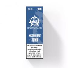 Blue Nic-Salt van Anarchist E-liquids smaakt naar een slushie met blauwe bessen siroop. U kunt deze 50PG/50VG e-liquid in 10ml flesjes bestellen. U kunt kiezen uit 10- en 20mg/ml Nicotine Salts.