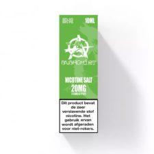 Green Nic-Salt van Anarchist E-liquids smaakt naar een zoete appel koekje. U kunt deze 50PG/50VG e-liquid in 10ml flesjes bestellen. U kunt kiezen uit 10- en 20mg/ml Nicotine Salts.