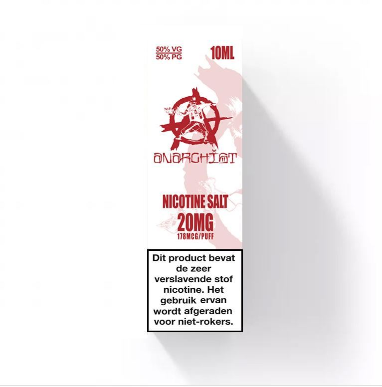 White Nic-Salt van Anarchist E-liquids smaakt naar marshmallow met een vleugje kaneel. U kunt deze 50PG/50VG e-liquid in 10ml flesjes bestellen. U kunt kiezen uit 10- en 20mg/ml Nicotine Salts.