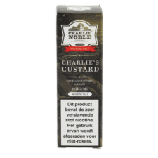 Charlie Noble Charlie's Custard Nic Salt is een custard cake met vanille vulling. Deze 50/50 e-liquid komt in 10ml flesjes met nic salt.