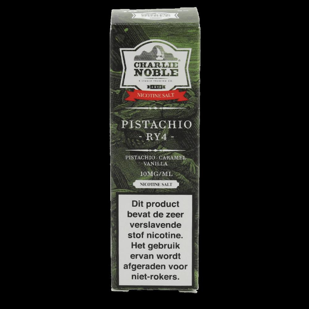 Charlie Noble Pistachio RY4 Nic Salt is een mix van tabak en pistache noten. Deze e-liquid komt in 10ml flesjes met verschillende hoeveelheden nicotine salt.