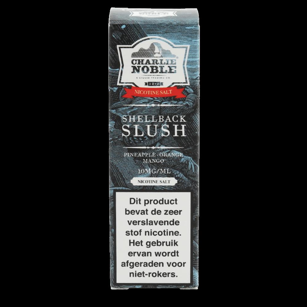 Charlie Noble Shellback Slush Nic Salt is een mix van mango en ananas. Deze 50/50 e-liquid met nicotine komt in 10ml flesjes met verschillende nic salt sterktes.