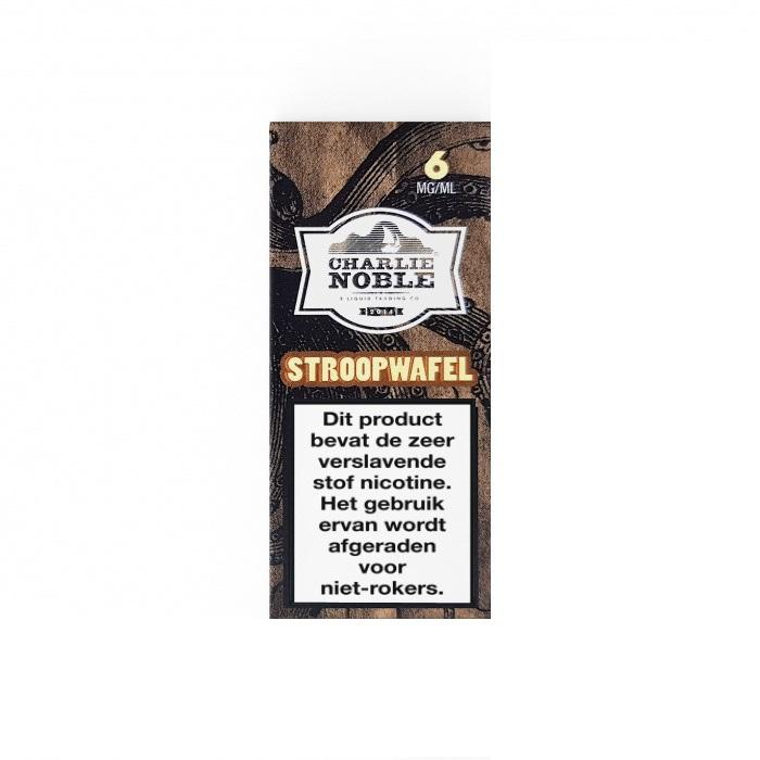 Deze Stroopwafel e-liquid van Charlie Noble smaakt naar de bekende wafel. Deze High VG vloeistof uit de Verenigde Staten is verkrijgbaar in 10ml flesjes met verschillende nicotine sterktes, namelijk 3mg/ml, 6mg/ml en 12mg/ml.