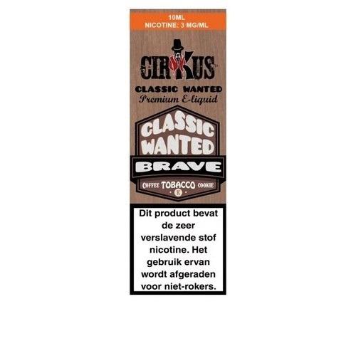 Cirkus Classic Wanted Brave is een lichte tabakssmaak met een biscuit met room en koffie. Deze e-liquid uit Frankrijk heeft een 50PG/50VG verhouding.
