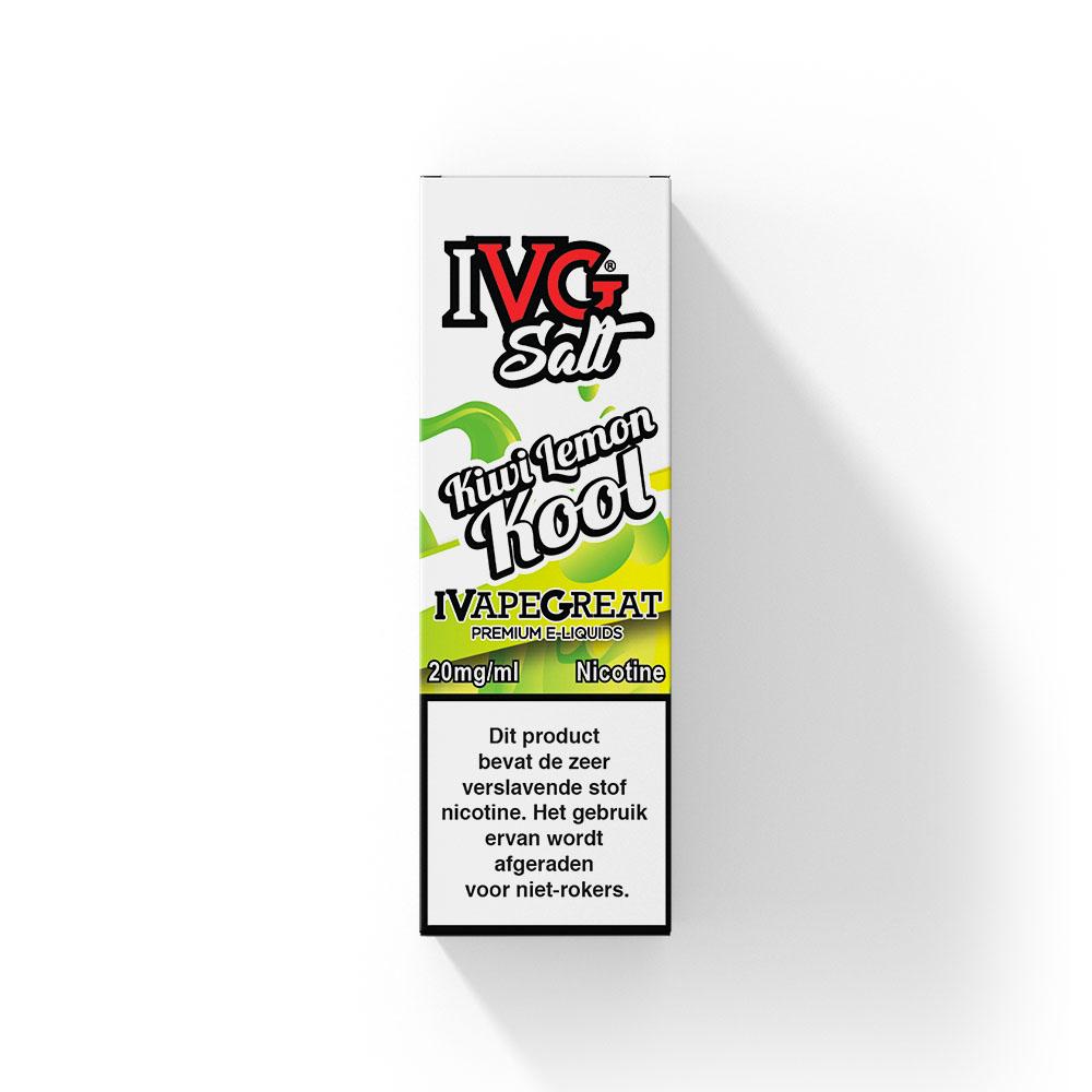 IVG Salt Kiwi Lemon Kool smaakt naar kiwi met citroen. Deze e-liquid uit het Verenigd Koninkrijk heeft een 50%PG/50%VG verhouding. U kunt hem bestellen in 10ml flesjes met 20mg/ml Nic-Salts.