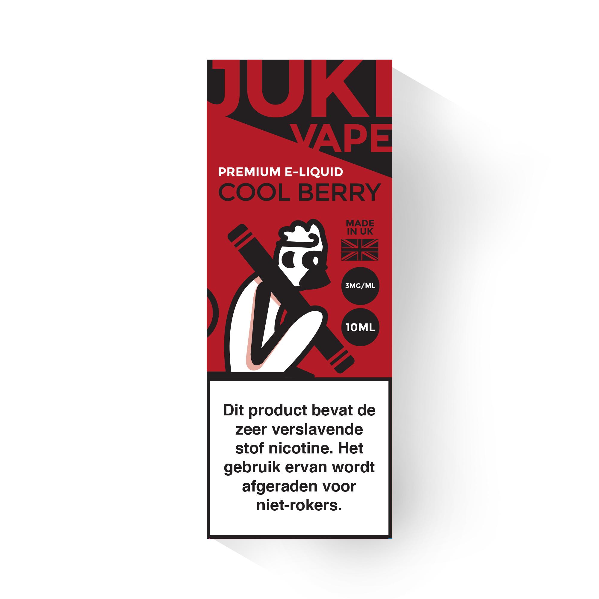 Juki Vape Cool Berry is een mix van frambozen en aardbeien met een frisse mint. Deze smaak is alleen verkrijgbaar met 3mg/ml nicotine en 30%PG/70%VG 10ml flesjes.