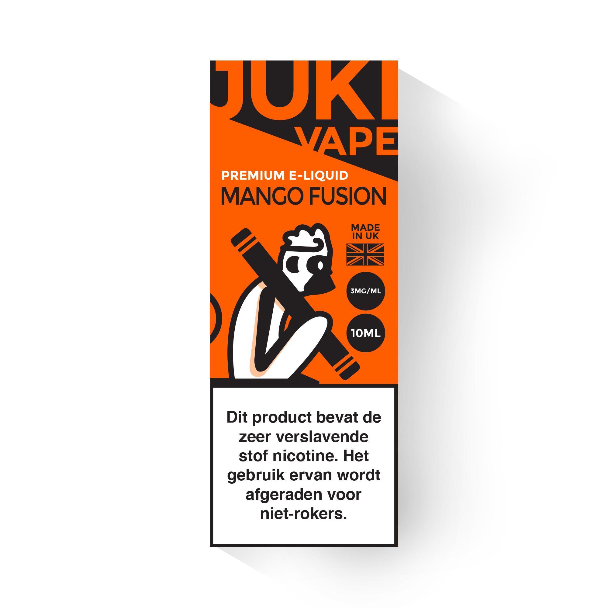 Juki Vape Mango Fusion is een mix van mango en frisse menthol. Deze e-liquid is verkrijgbaar met 3mg/ml nicotine en 30%PG/70%VG in 10ml flesjes.