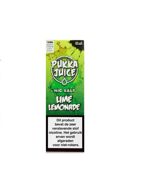 Pukka Juice Nic Salt Lime Lemonade is een limoen limonade met koolada. Deze Nic-Salts e-liquid wordt geproduceerd in het VK. Verkrijgbaar in 10ml flesjes met 50pg/50vg en 20mg/ml nicotine.