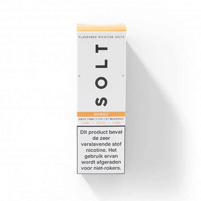 SOLT Mango is een fruitige mix van mango en mandarijn. Deze Nicotine Salts e-liquid uit het Verenigd Koninkrijk heeft een PG/VG verhouding van 50%PG/50%VG.