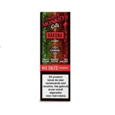Twelve Monkeys Salts Hakuna is een mix van apple en bessen. Hij wordt gemaakt in Canada. U kunt deze 50PG/50VG e-liquid in 10ml flesjes bestellen. De nicotine sterkte is 20mg/ml Nicotine Salts.