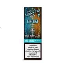 Twelve Monkeys Salts Tropika is een tropische mix van verschillende vruchten. Hij wordt gemaakt in Canada. U kunt deze 50PG/50VG e-liquid in 10ml flesjes bestellen. De nicotine sterkte is 20mg/ml Nicotine Salts.