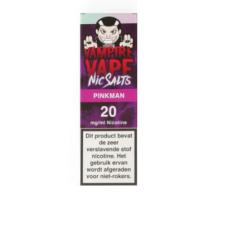 Pinkman Nic Salts van Vampire Vape is een e-liquid met Nicotine Salts. De smaak is een zoete mix van rood en geel fruit. Deze vloeistof uit het Verenigd Koninkrijk heeft een 50%PG/50%VG verhouding. Hij wordt verkocht in 10ml flesjes met 20mg/ml Nic Salt (NS).