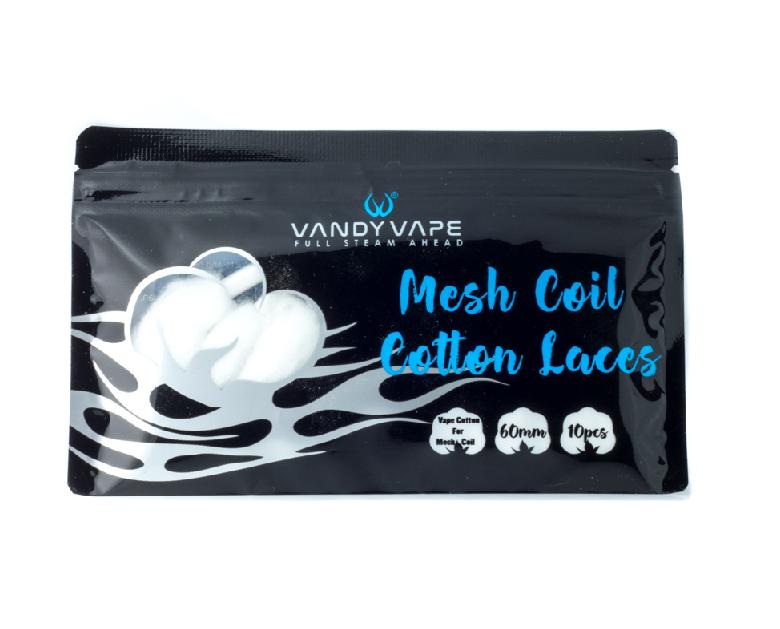 Vandy Vape Mesh Coil Cotton Laces zijn stukjes katoen voor de Vandy Vape Kylin M mesh RTA. Hij is beschikbaar met een diameter van 6mm. Verkocht per 10 stuks van 60mm.