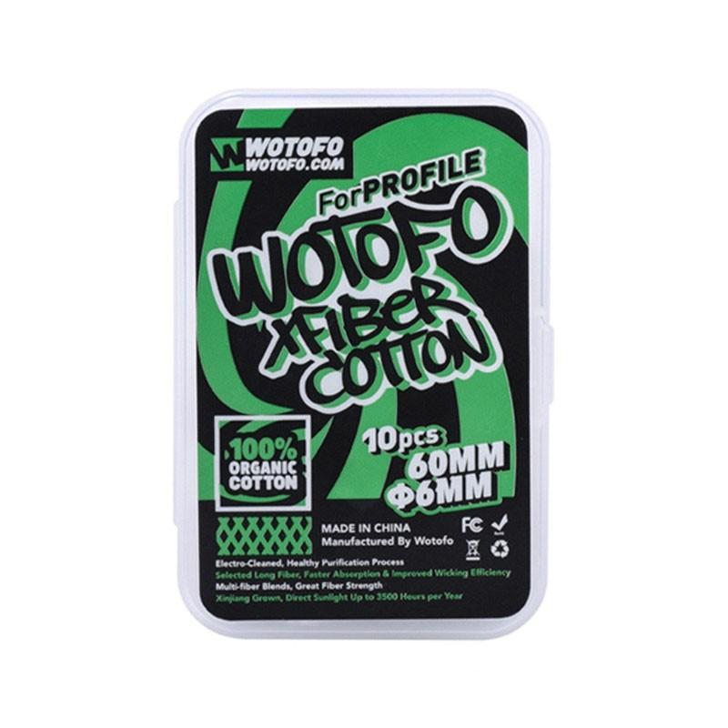 De Wotofo XFiber Cotton is de vernieuwde katoen voor de Wotofo Profile RDA en RTA. Beschikbaar met een diameter van 6mm. Verkocht per 10 stuks van 60mm.