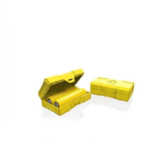 Stevig Chubby Gorilla doosje voor het vervoeren van twee 18650 batterijen.