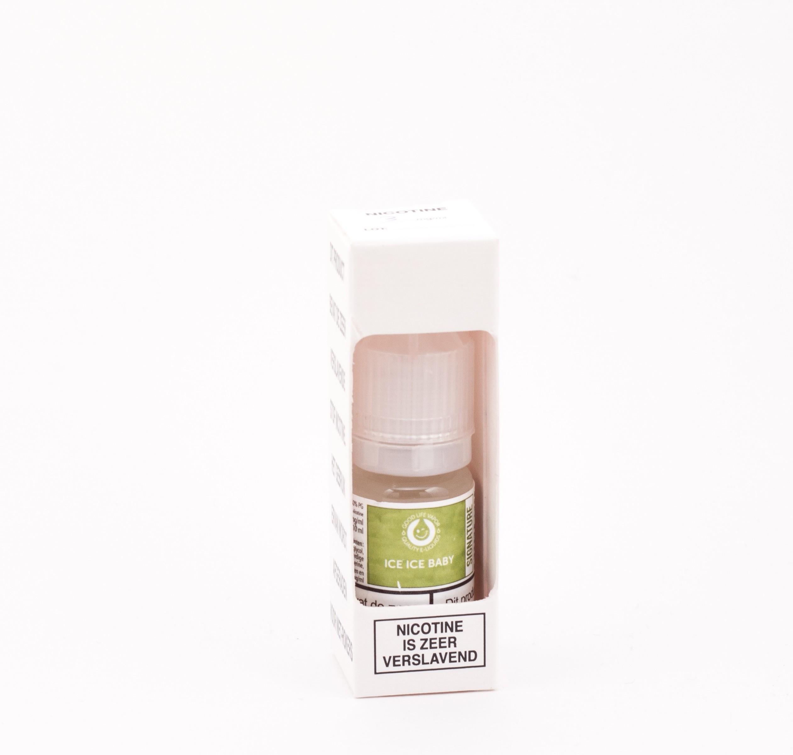 De Ice Ice Baby E-liquid van Good Life Vapor is een zoete menthol e-liquid. Deze e-liquid heeft PG/VG verhouding van 50%PG/50%VG, wordt geproduceerd de Verenigde Staten en wordt verkocht in flesjes van 10ml.