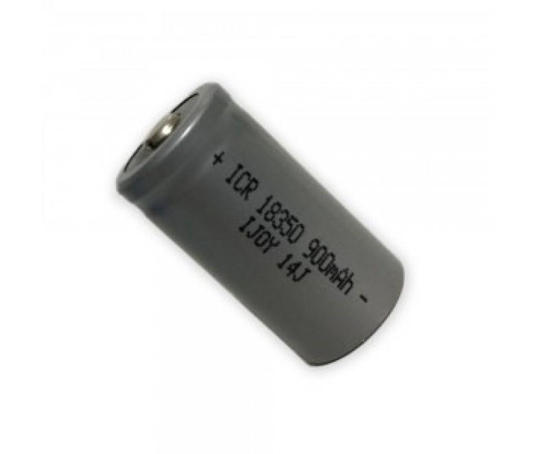 Button top 18650 batterij met vermogen van 900mAh.