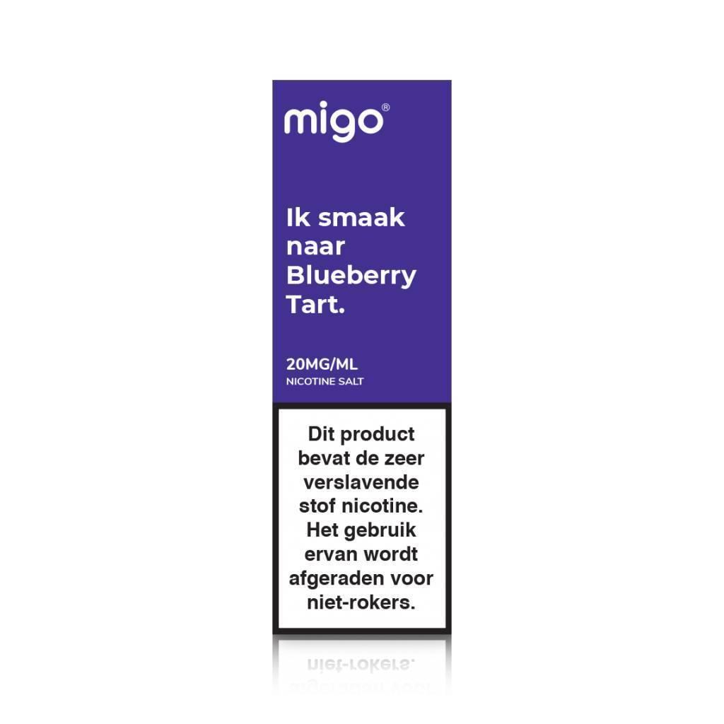 Migo Blueberry Tart is een e-liquid met de smaak van bosbessen taart. Deze e-liquid heeft een 50%PG/50%VG verhouding en wordt geproduceerd in Nederland.