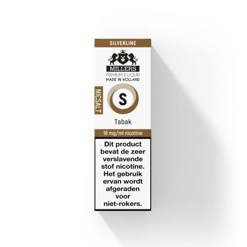 Millers Juice Silverline Nic Salt Tabak is een e-liquid met tabak smaak. Deze vloeistof van de Silverline heeft een PG/VG verhouding van 70%PG/30%VG. Deze Nederlandse vloeistof wordt verkocht in 10ml flesjes met 18mg/ml Nicotine Salts.